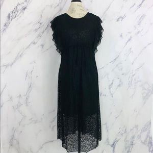 ZARA Basic Collection Black Midi Lace Dress